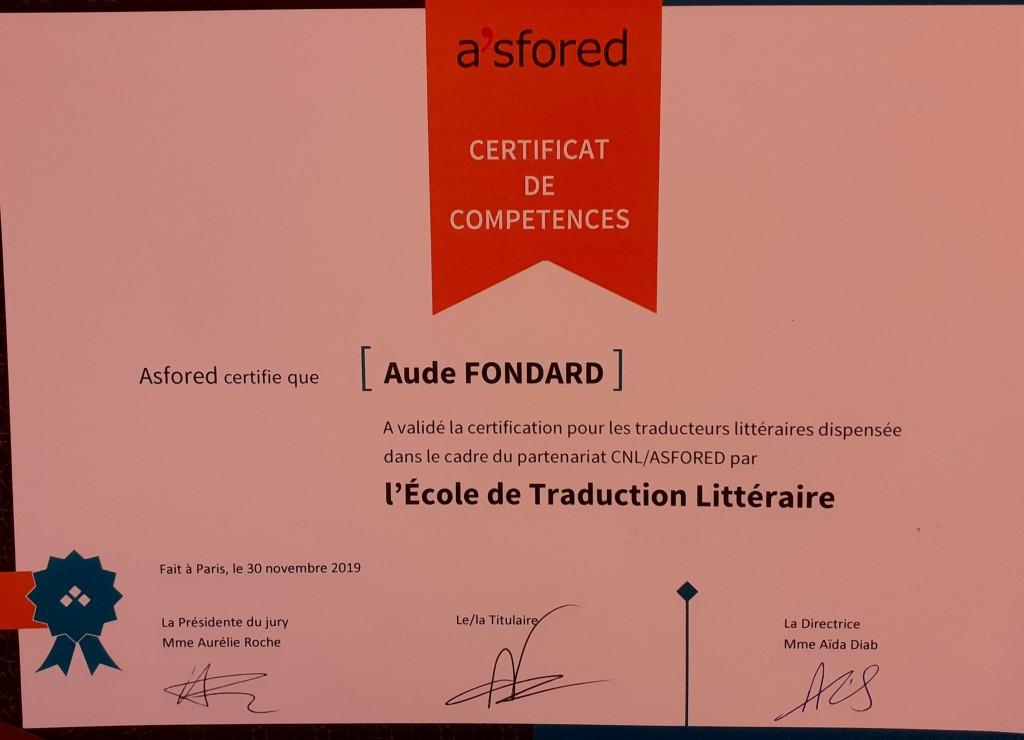 certification ETL nov 2019